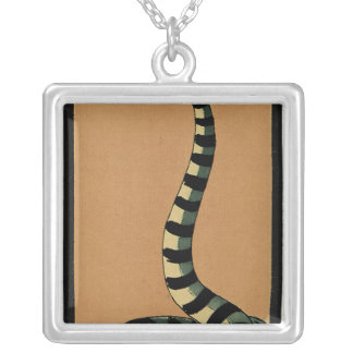 Snake - Antiquarian, Colorful Book Illustration Square Pendant Necklace