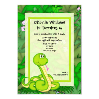 Snake Birthday Party 5x7 Paper Invitation Card