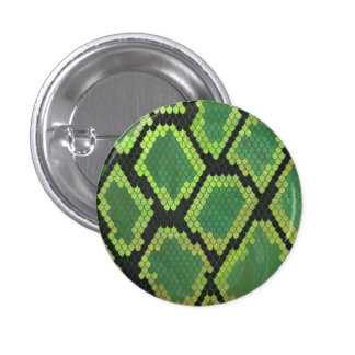 Snake Black and Green Print Button