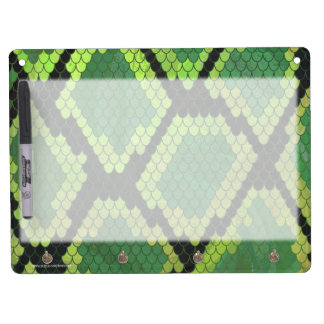 Snake Black and Green Print Dry Erase Board With Keychain Holder