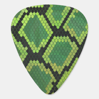 Snake Black and Green Print Guitar Pick
