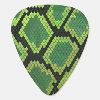 Snake Black And Green Print Guitar Pick by ITDWildMe at Zazzle