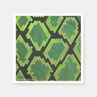 Snake Black and Green Print Napkin