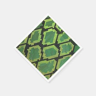 Snake Black and Green Print Paper Napkin