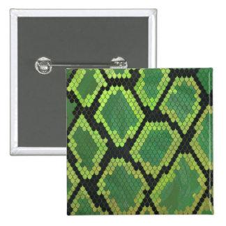 Snake Black and Green Print Pinback Button