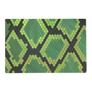 Snake Black and Green Print Placemat