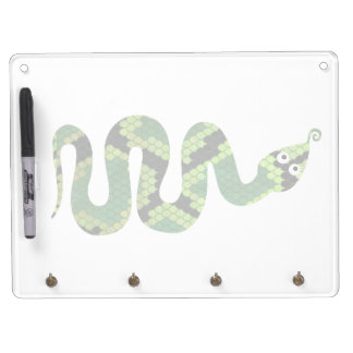 Snake Black and Green Print Silhouette Dry Erase Board With Keychain Holder