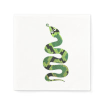 Snake Black and Green Print Silhouette Napkin