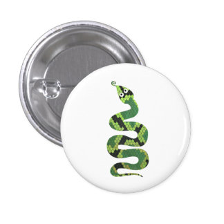 Snake Black and Green Print Silhouette Pinback Button