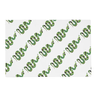 Snake Black and Green Print Silhouette Placemat
