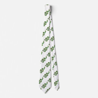 Snake Black and Green Print Silhouette Tie