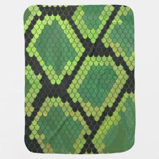Snake Black and Green Print Stroller Blanket