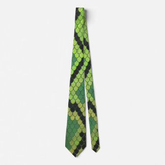 Snake Black and Green Print Tie