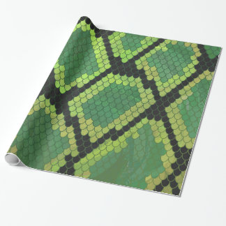 Snake Black and Green Print Gift Wrap Paper