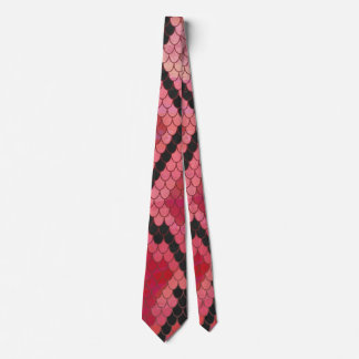 Snake Black and Red Print Tie