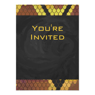 Snake Brown and Gold Print 5.5x7.5 Paper Invitation Card