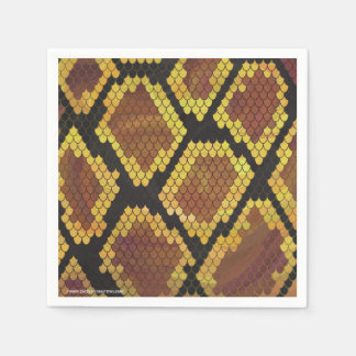 Snake Brown and Gold Print Paper Napkin