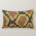 Snake Brown and Gold Print Pillow