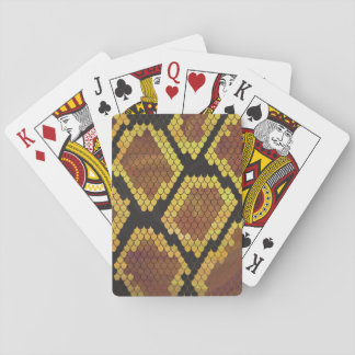 Snake Brown and Gold Print Playing Cards