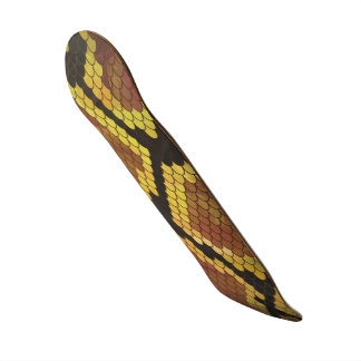 Snake Brown and Gold Print Skate Boards