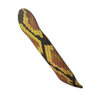 Snake Brown and Gold Print Skateboard