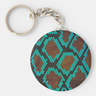Snake Brown and Teal Print Basic Round Button Keychain