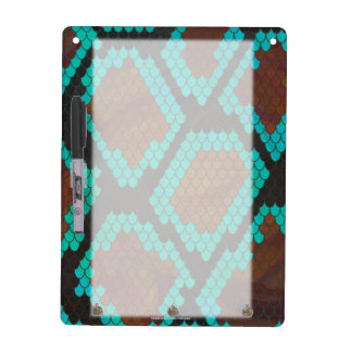 Snake Brown and Teal Print Dry Erase Board