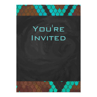 Snake Brown and Teal Print 5.5x7.5 Paper Invitation Card