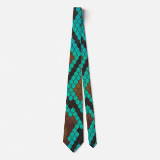 Snake Brown and Teal Print Neck Tie