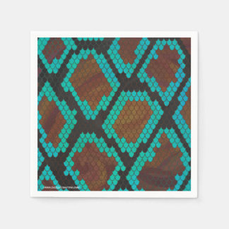 Snake Brown and Teal Print Paper Napkin