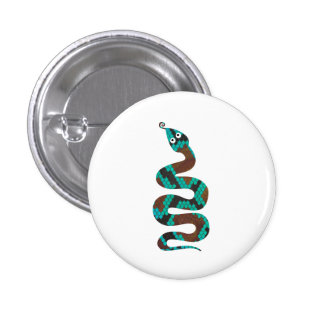 Snake Brown and Teal Print Silhouette Button