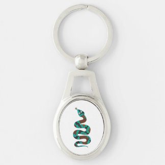 Snake Brown and Teal Print Silhouette Silver-Colored Oval Metal Keychain