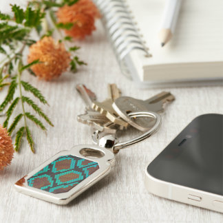Snake Brown and Teal Print Silver-Colored Rectangular Metal Keychain