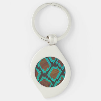 Snake Brown and Teal Print Silver-Colored Swirl Metal Keychain
