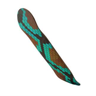 Snake Brown and Teal Print Skateboard