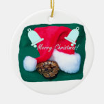 Snake by santa hat merry christmas and bells christmas tree ornaments