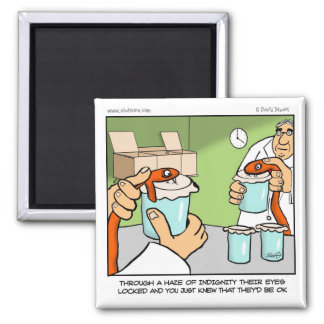 Snake Cartoon-milking The Snake 2 Inch Square Magnet