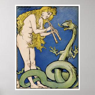 Snake Charmer - Art Nouveau Vintage Art Poster
