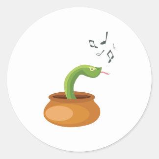 Snake_Charmer_Base Classic Round Sticker