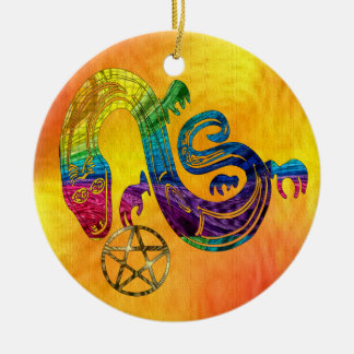 Snake Charming Witch Ceramic Ornament