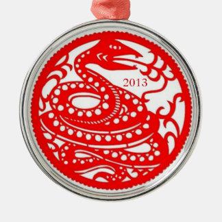 Snake | Chinese Zodiac Folk Art Round Metal Christmas Ornament