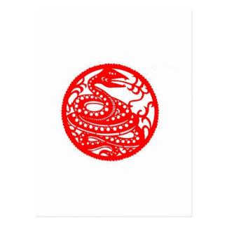 Snake   Chinese Zodiac Folk Art Postcard