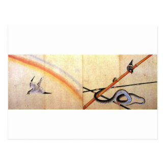 Snake curling around a bamboo stalk with a sparrow postcard