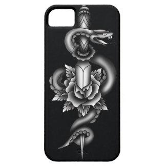 Snake, dagger and rose - black iPhone SE/5/5s case