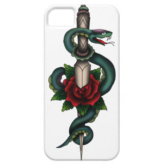 Snake, dagger and rose - coloured iPhone SE/5/5s case