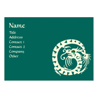SNAKE DRAGON AQUAMARINE white black blue green Large Business Card