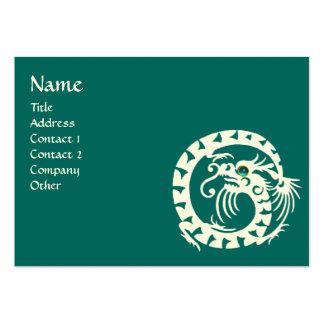 SNAKE DRAGON AQUAMARINE white blue green Large Business Card