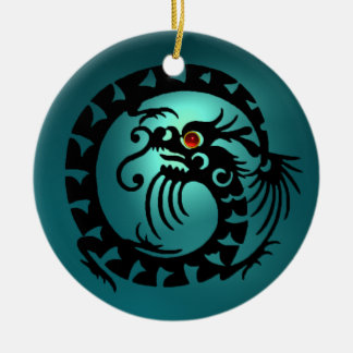 SNAKE DRAGON  Black and Blue Aquamarine Ceramic Ornament