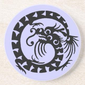 SNAKE DRAGON , black and blue Sandstone Coaster