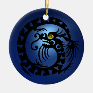 SNAKE DRAGON Black and Blue Sapphire Ceramic Ornament